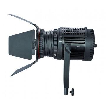 Vista lateral foco con lente fresnel de LED y 100W