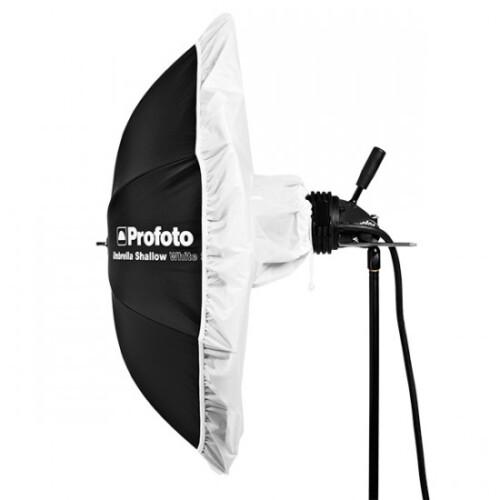 Difusor para paraguas Profoto Umbrella Deep ejemplo antorcha montada