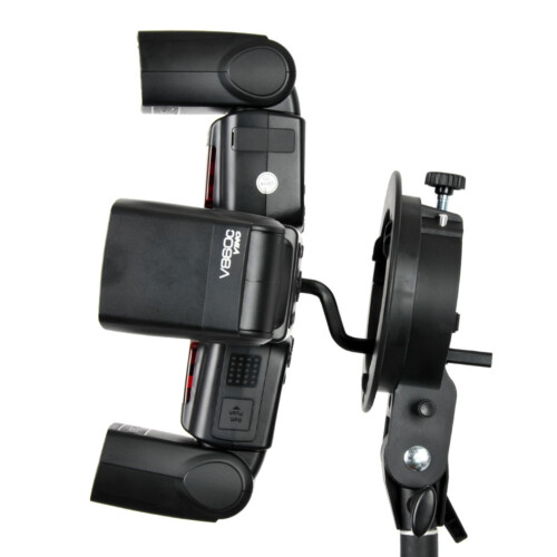 Adaptador a rótula para 4 flashes compactos ejemplo uso