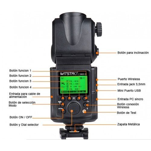 Diales y botones Godox Witstro AD 360 II TTL para Nikon