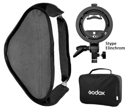 Kit de Softbox plegable Godox 80x80 rótula Elinchrom y bolsa