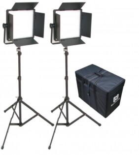 Kit Nanguang 2 panel Led CN-1200 CSA bi-color con aletas, pies de estudio y bolsa de transporte