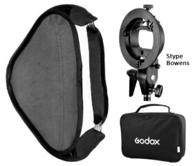 Kit de softbox plegable Godox 80x80 cm rótula Bowens y bolsa de transporte