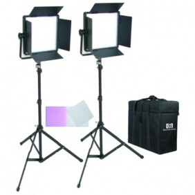 Kit Nanguang 2 panel Led CN-600 CSA bi-color con aletas con filtros, aletas, pies de estudio y bolsa de transporte
