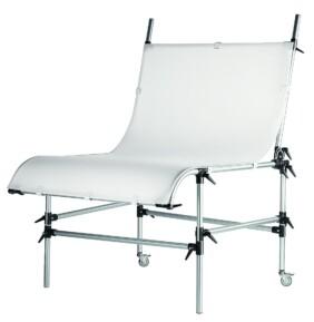 Mesa bodegón Manfrotto de color gris con patas ajustables y Perspex®
