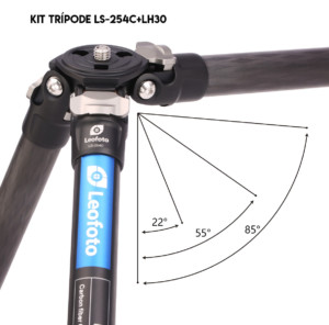 Kit trípode LS-224C+LH25 Leofoto con patas movimiento independiente