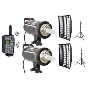 Kit 2 flashes de estudio Godox DS300II completo con pies y softboxes